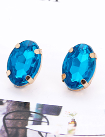 Fashion Navy Oval Shape Decorated Earrings