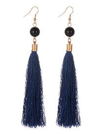 Simple Navy Tassel Decorated Earrings