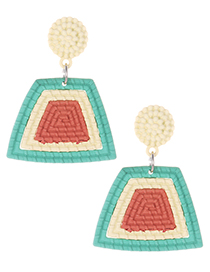 Fashion Green Color Matching Decorated Earrings