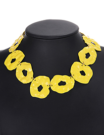 Fashion Yellow Pure Color Decorated Hollow Out Necklace