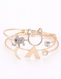 Fashion Gold Color Elephant&cat Shape Decorated Bracelet (4 Pcs )