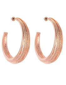 Fashion Rose Gold Circular Ring Shape Decorated Earrings
