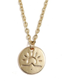 Fashion Gold Color Sun Pendant Decorated Necklace
