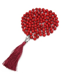 Fashion Red Buddha Decorated Pure Color Necklace