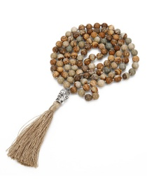Fashion Khaki Buddha&beads Decorated Tassel Necklace