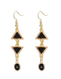 Fashion Gold Color+black Double Triangle Shape Design Long Earrings