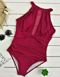 Sexy Claret Red Off-the-shoulder Design Pure Color Bikini