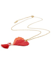 Fashion Red Heart Shape Pendant Decorated Necklace