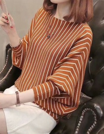 Fashion Brown Stripe Pattern Decorated Long Sleeves Sweater