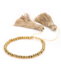 Sweet Gold Color Tassel Decorated Hand-woven Bracelet