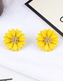 Fashion Yellow Flower Shape Design Earrings