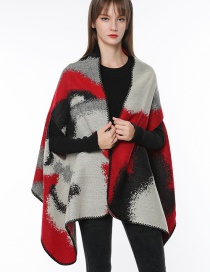 Fashion Red+gray+gray Color-matching Decorated Scarf
