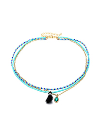 Fashion Blue Multi-layer Design Tassel Necklace
