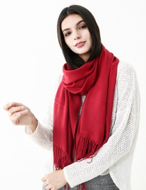 Fashion Claret Red Pure Color Decorated Scarf
