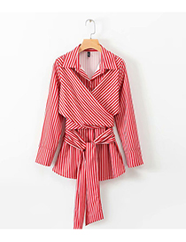 Fashion Red Stripe Pattern Decorated Shirt