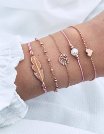 Fashion Gold Color+pink Leaf Shape Decorated Bracelet(5 Pcs )