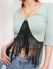 Fashion Black Tassel Decorated Pure Color Body Chain