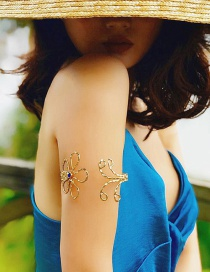 Fashion Gold Color Flower Shape Decorated Arm Chain
