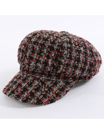 Fashion Red+khaki Grid Pattern Decorated Hat