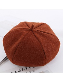 Simple Brown Pure Color Decorated Berets