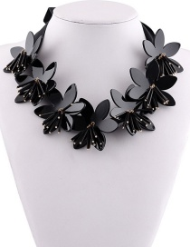 Fashion Black Flowers Decorated Pure Color Necklace