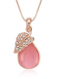 Fashion Pink Waterdrop Ahape Decorated Necklace