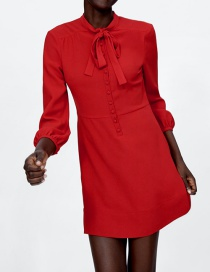 Fashion Red Pure Color Decorated Dress