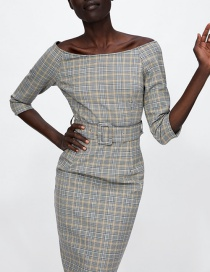 Fashion Gray Grid Pattern Decorated Dress