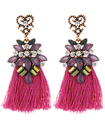 Fashion Plum Red Diamond Decorated Tassel Earrings