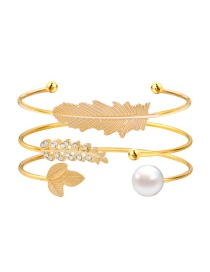 Fashion Gold Color Leaf Shape Decorated Bracelet (3 Pcs )