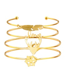 Fashion Gold Color Leaf&feather Shape Decorated Bracelet (4 Pcs )