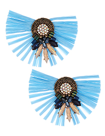 Fashion Blue Sector Shape Decorated Earrings