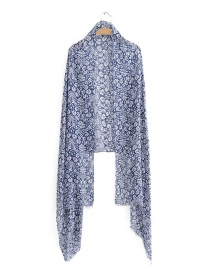 Fashion Blue+white Flower Pattern Decorated Scarf