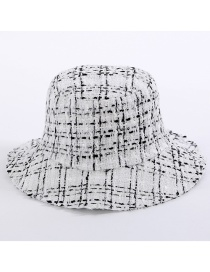 Fashion White Grid Pattern Decorated Hat