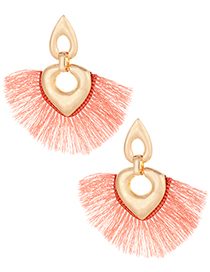 Fashion Pink Heart Shape Decorated Tassel Earrings