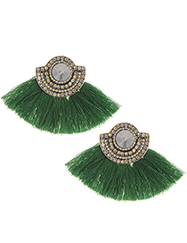 Fashion Green Tassel&diamonde Decorated Earrings