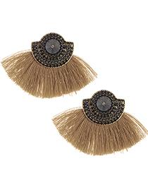 Fashion Black+khaki Tassel&diamonde Decorated Earrings