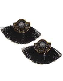 Fashion Black Tassel&diamonde Decorated Earrings