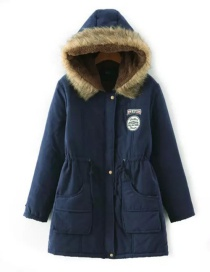 Fashion Navy Fur Collar Decorated Pure Color Coat