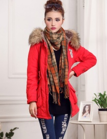 Fashion Red Fur Collar Decorated Pure Color Coat