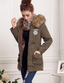 Fashion Olive Green Fur Collar Decorated Pure Color Coat