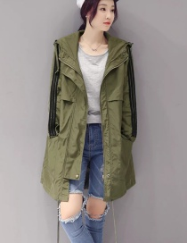 Fashion Olive Green Letter Pattern Decorated Coat