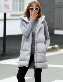 Fashion Gray Pure Color Decorated Sleeveless Coat
