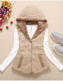 Fashion Khaki Pure Color Decorated Coat