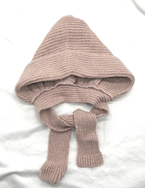 Lovely Pink Pure Color Decorated Warm Knitted Cap