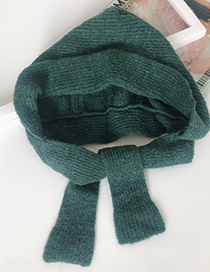 Lovely Green Pure Color Decorated Warm Knitted Cap