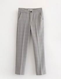 Fashion Gray Grid Pattern Decorated Simple Pants