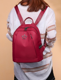 Fashion Red Star Shape Decorated Pure Color Backpack