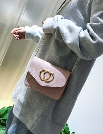 Fashion Pink Heart Shape Decorated Pure Color Bag