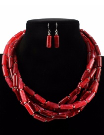 Fashion Red Cylindrical Shape Design Pure Color Jewelry Sets